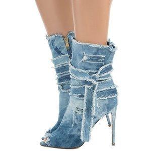 Denim wash booties heels